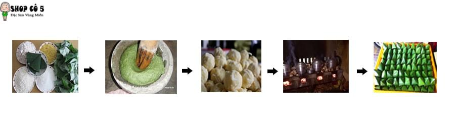Công đoạn làm bánh ít lá gai nhân đậu xanh